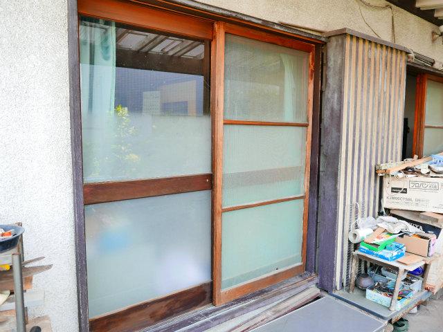 木製窓掃出しサッシュbefore