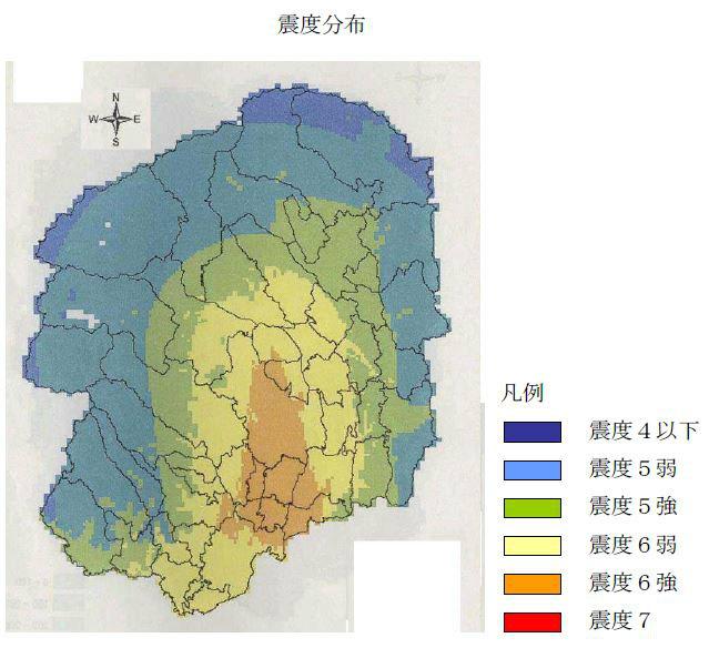 宇都宮直下地震震度分布